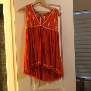 Orange and white free people top